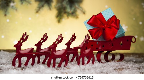 Christmas, Santa sleigh on gift box background