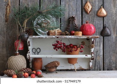 Christmas Scene With Branch Of Pine Cones Cedar Cone Cinnamon Fresh Pomegranate