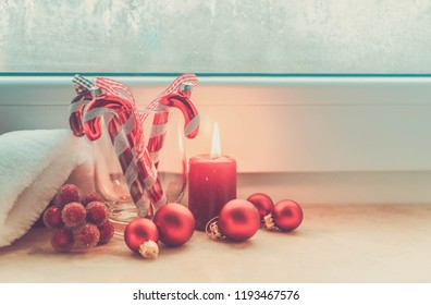 Christmas scene with burning light