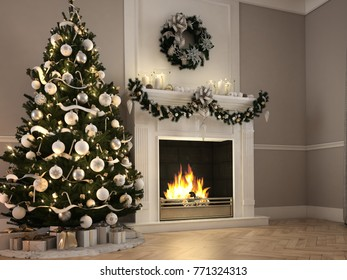 christmas scene with decorated tree and fireplace. 3d rendering