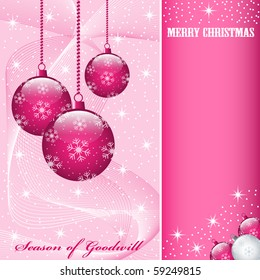 Christmas scene with hanging ornamental pink balls, snowflakes, stars and snow. Copy space for text. Vector also available.