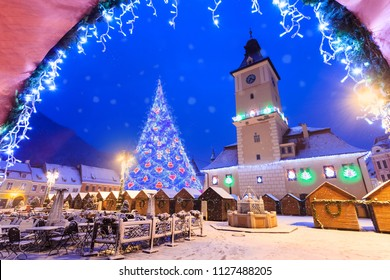 Christmas scene outdoor in Brasov town, Transylvania Romania