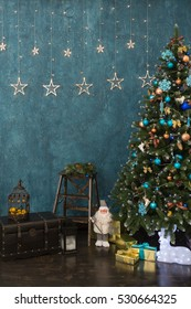 Christmas scene with tree, gifts and decorations in background. New year holiday interior background with stars.