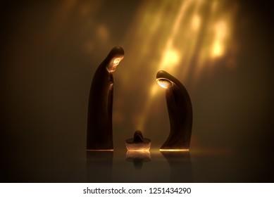 Christmas scene whit wooden manger