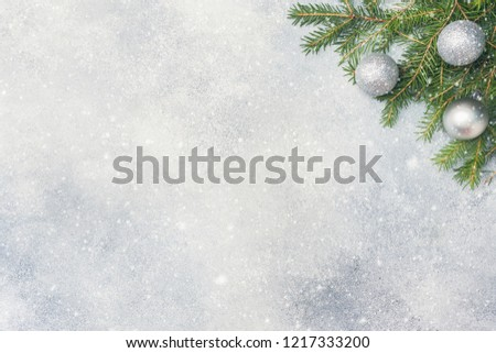 Christmas Scenery Toys Branches Fir On Stock Photo (Edit Now