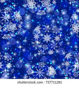 Christmas Seamless Background for Holiday Design with Blue and White Balls, Snowflakes and Stars