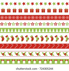 Christmas seamless borders. Endless ornament for washi tapes, wrapping paper, greeting cards design. Raster version