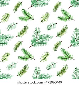 christmas seamless pattern with spruce branches. watercolor style for textile, paper and wrapping