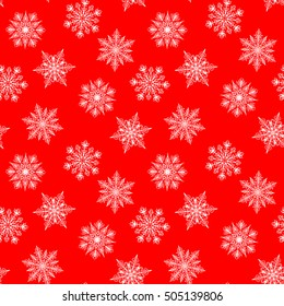 Christmas seamless pattern with white snowflakes on red background