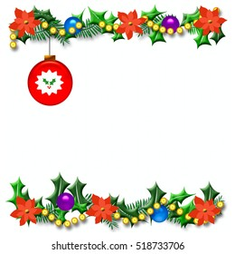 Christmas season holly frame with ornament illustration