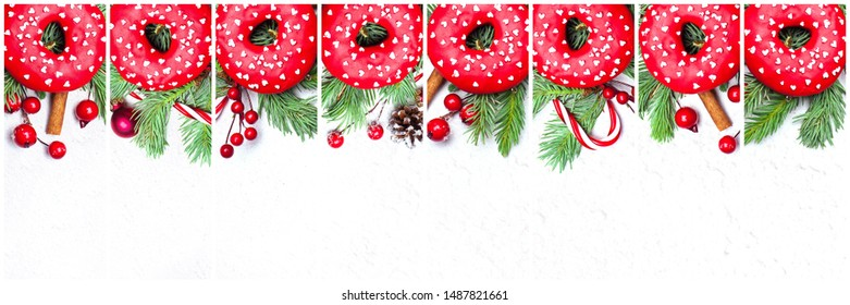 Christmas set composition. Sweet donuts, green fir twig, cone, baubles and red holly berries on white stucco plaster texture. Xmas card, top view flat lay