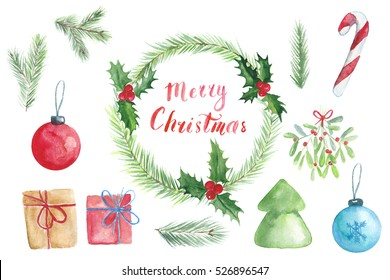 Christmas Set with wreath, spruce branches, hand writing Merry Christmas, holiday decorations, mistletoe branch, gift box, new year tree painted in watercolor on a white background
