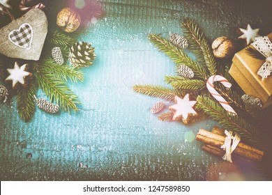 Christmas setting with seasonal spices and sweets. Christmas background