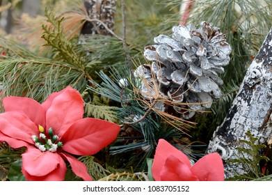 A Christmas setup display of ornamental decorations.