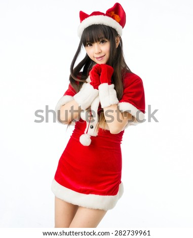 Christmas Sexy Cat Girl Sexy Mrs Santa Claus Isolated Moe