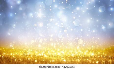 Christmas Shining - Shimmer Of Golden Glitter In Heavenly Sky