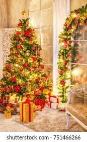 Christmas shining tree with decorations, tinsel, star, balls. Interior in vintage style. New year holidays.