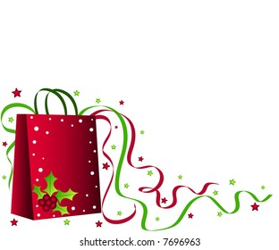 Christmas shopping bag with holly, ribbons and stars