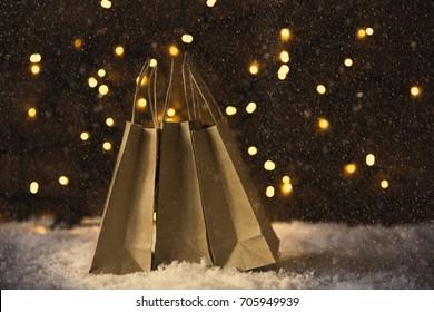 Christmas Shopping Bag, Snow, Lights, Instagram Filter
