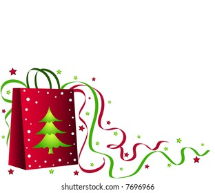 Christmas shopping bag with tree, ribbons and stars
