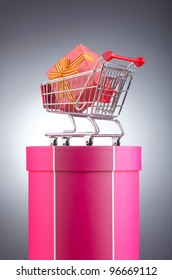 Christmas shopping concept with shopping cart