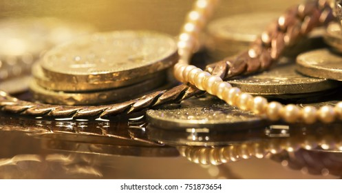 Christmas shopping concept - pearls, jewelry and money coins