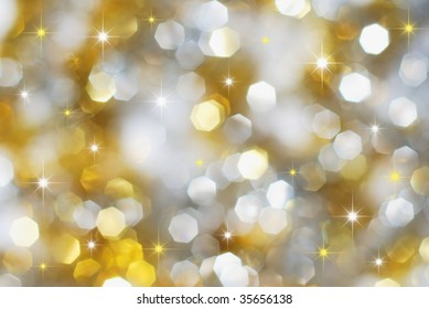 Christmas silver and golden lights and stars