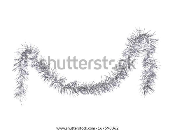 Christmas silver tinsel. Isolated on a white background.