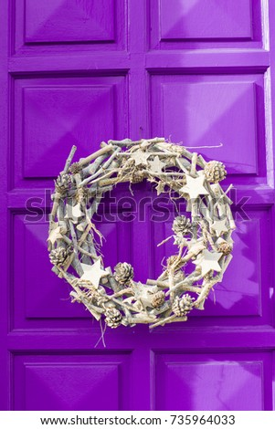 Christmas Silver Wreath Hanging On Purple Stock Photo Edit Now