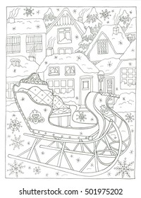 Christmas sleight coloring page