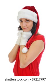Christmas smiling woman in red santa cap. isolated on a white background