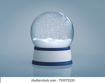 Christmas snow globe with reflection on blue background. 3D rendering