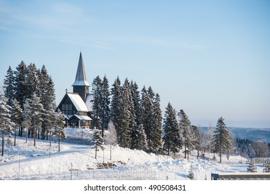 Christmas snow landscape with church in Oslo, Norway, Eastern europe