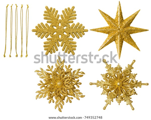 Christmas Snowflake Isolated Ornament, Hanging Snow Flake Decoration, New Year Toy over White Background