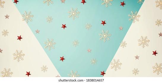 Christmas snowflake pattern - overhead view flat lay