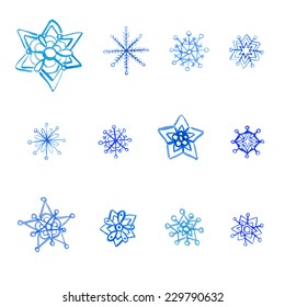 Christmas snowflakes and blue stars background. Decorative Snowflakes, winter theme.