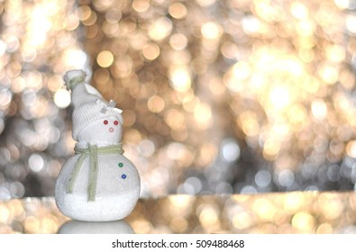 christmas snowman, bokeh background