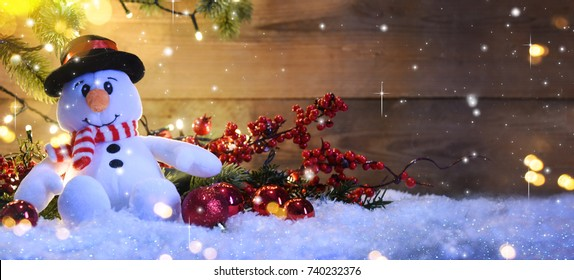 Christmas snowman with decoration and lighting