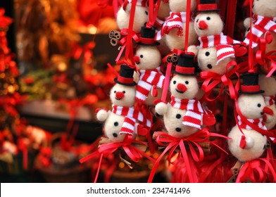 Christmas snowman decorations at a Christmas market in Innsbruck, Austria