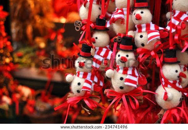 Christmas snowman decorations at a Christmas market in Innsbruck, Austria