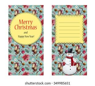 Christmas snowman,, poinsettia flower, invitation, beautiful vintage card