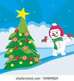 Christmas snowman in winter