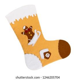 Christmas sock beige handmade on white isolated background
