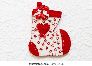 Christmas sock on a white background