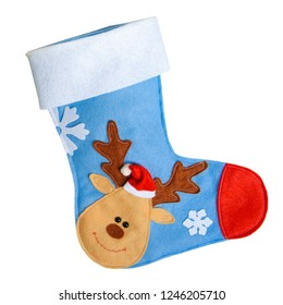 Christmas sock on a white isolated background with decorations