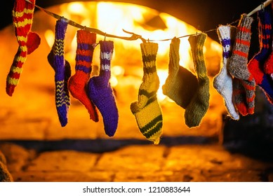 Christmas socks near fire