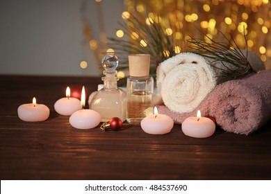 Christmas spa set on wooden table