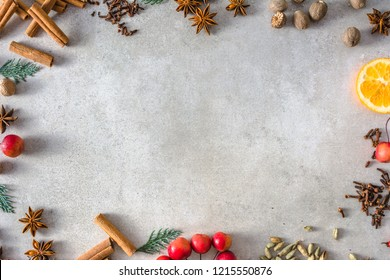 Christmas spices background, frame of christmas food, flat lay, top view