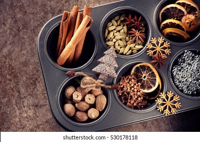 Christmas spices for baking cookies or Stollen,  top view