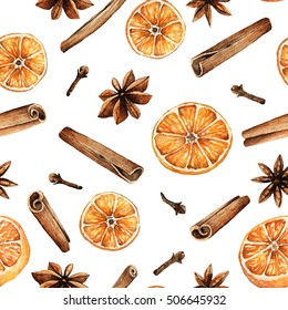 Christmas spices, cinnamon, star anise, cloves, orange, watercolor illustrations, handmade,seamless pattern,light background